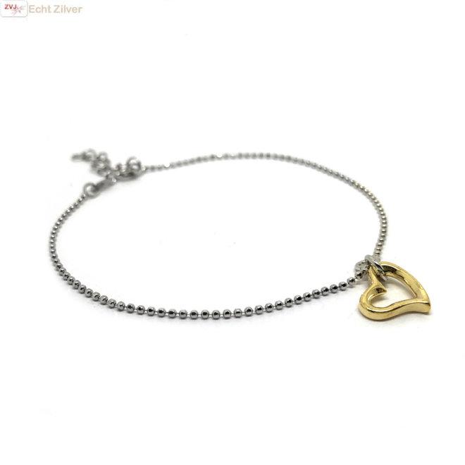 Zilveren fijn armbandje open gouden hart