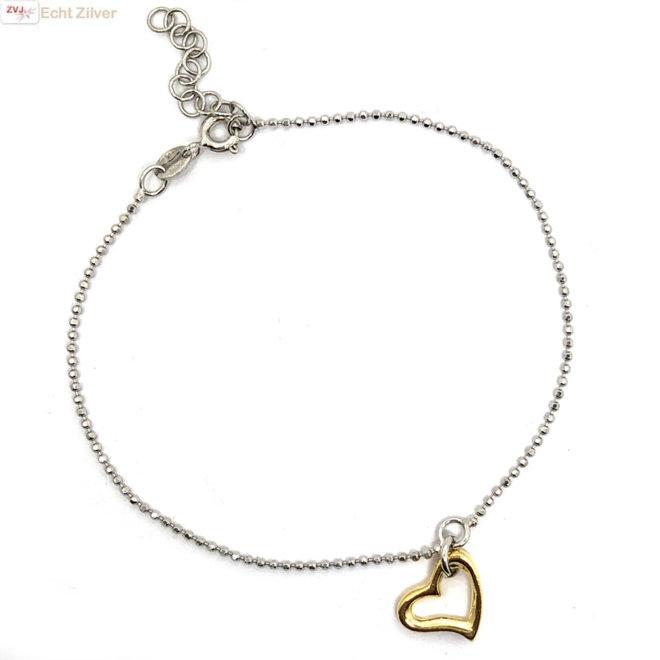 925 zilveren armbandje met open gouden hart hanger