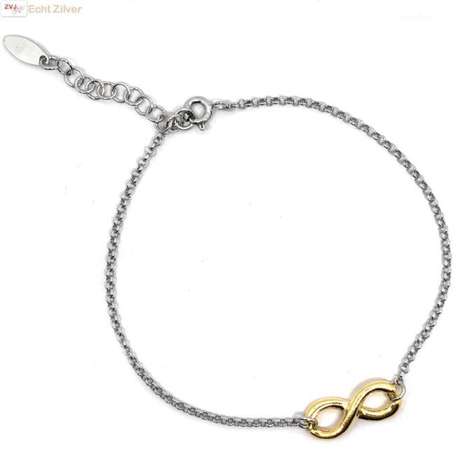 Zilveren armbandje gouden infinity