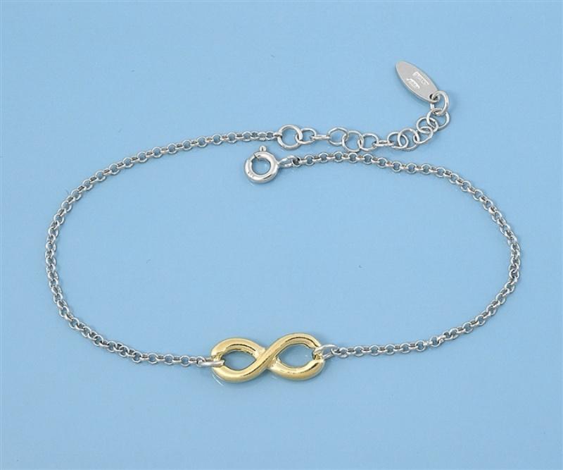 925 zilveren armbandje met gouden infinity bedel-3