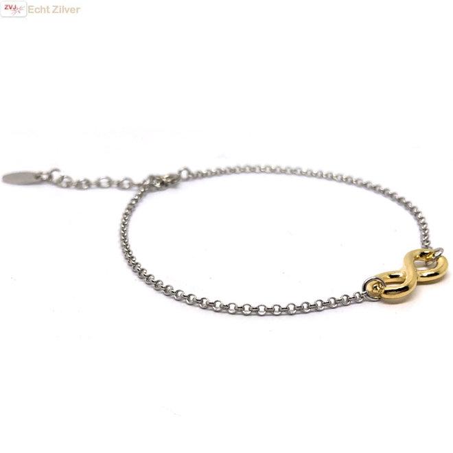 925 zilveren armbandje met gouden infinity bedel