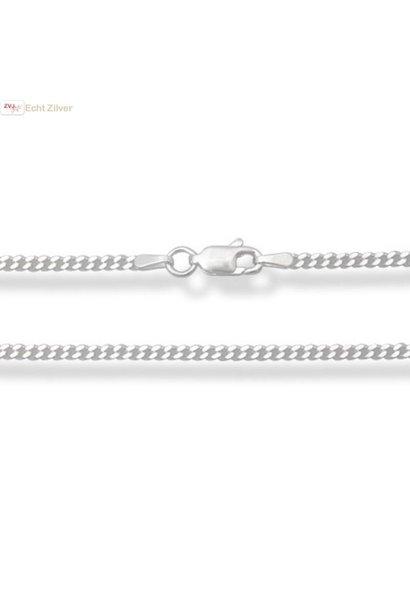 Zilveren gourmet ketting 70 cm lang 2 mm breed