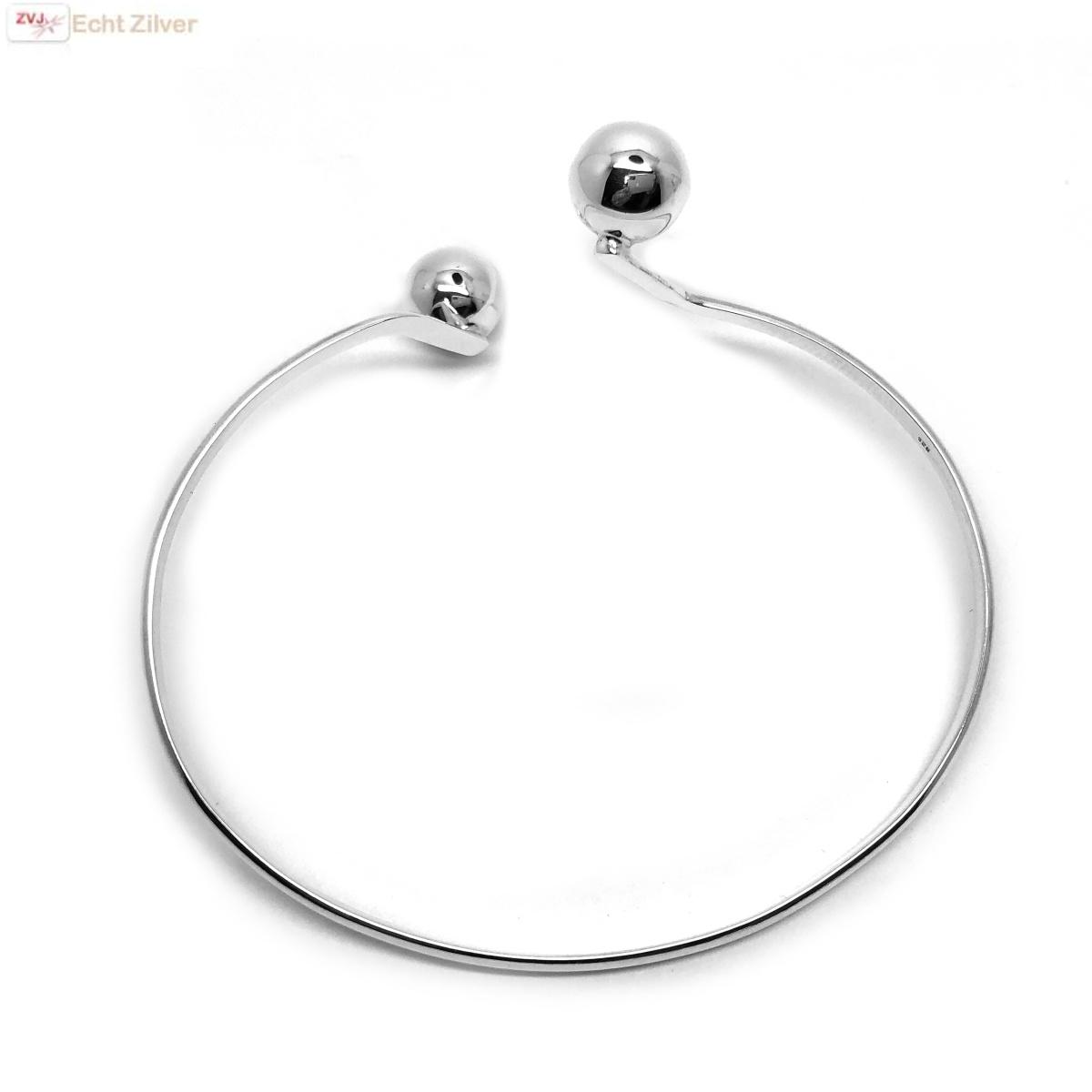 925 Zilveren bangle met 2 zilveren ballen-4