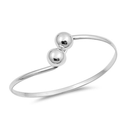 ZilverVoorJou Zilveren bangle met 2 zilveren ballen