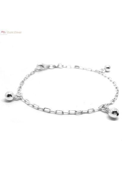 Zilveren schakelarmband met 3 balletjes