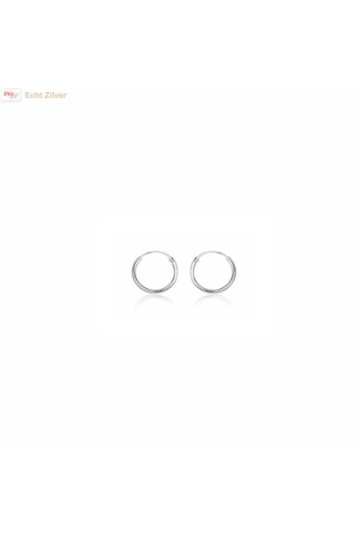Zilveren mini creolen oorringen ronde buis 8 x 1.2 mm breed