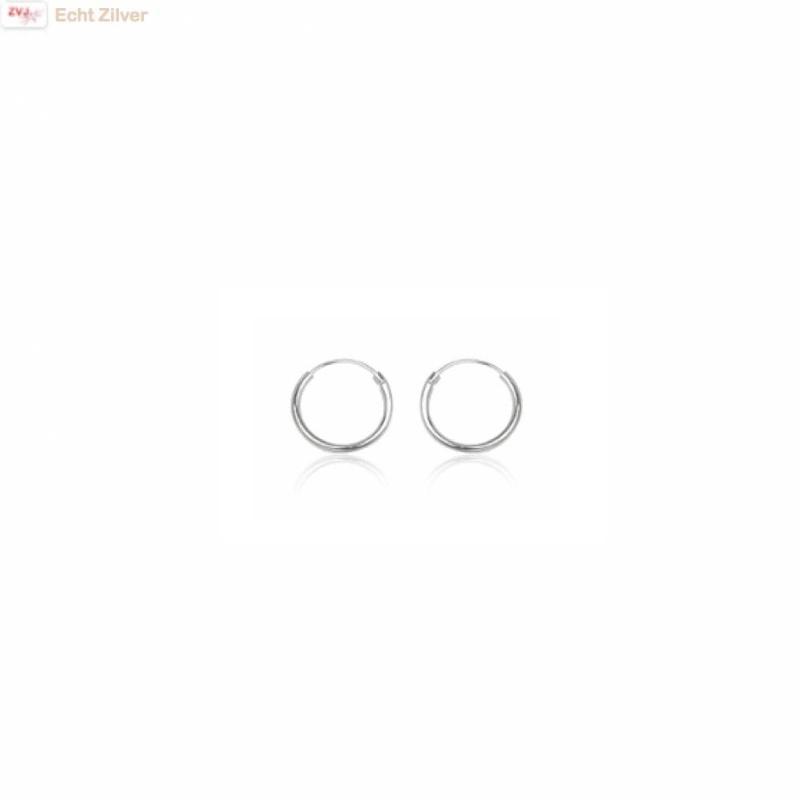 925 Zilveren ieniemini creolen oorringen ronde buis 8 x 1.2 mm breed-1