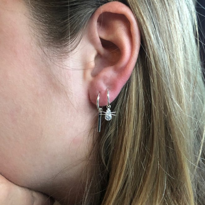 925 zilveren kleine oorringen met spin hangers
