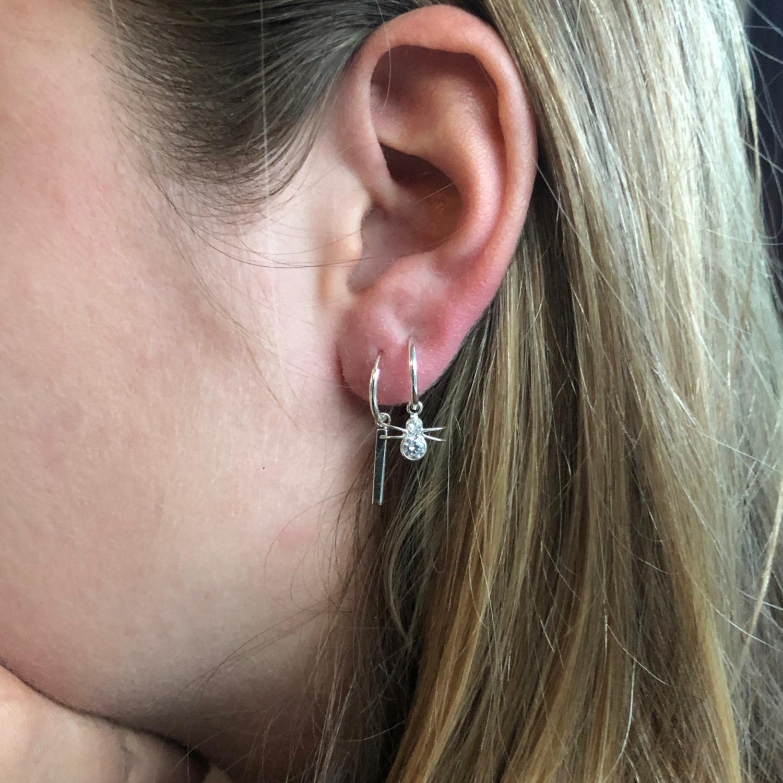 925 zilveren kleine oorringen met spin hangers-4