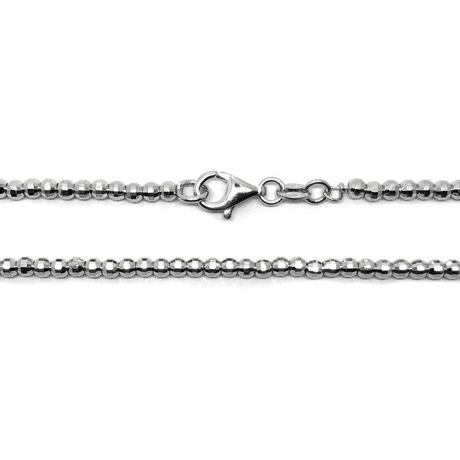 Zilveren diamond cut bolletjes ketting 40 cm