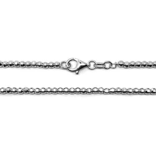 ZilverVoorJou Zilveren diamond cut bolletjes ketting 50 cm