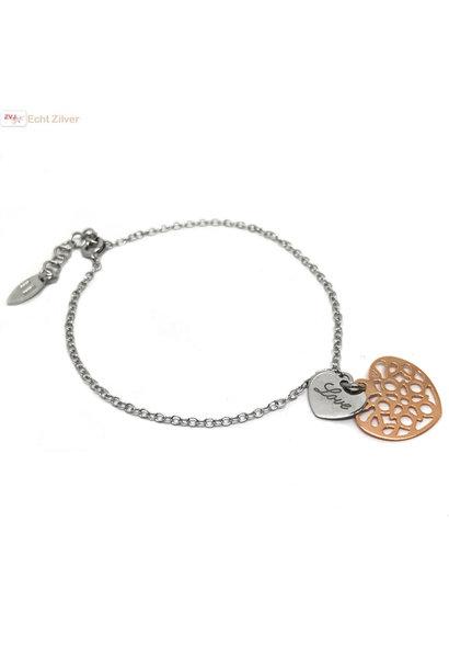 Zilveren rosé gouden love hartje armbandje