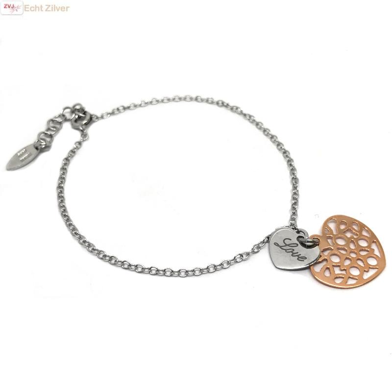 Zilveren rosé gouden love hartje armbandje-1