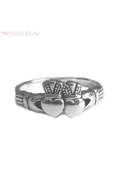 OUTLET Zilveren dubbel hart keltische claddagh ring