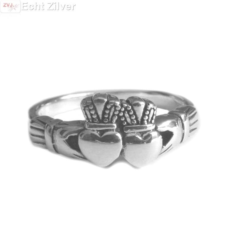 OUTLET Zilveren dubbel hart keltische claddagh ring-1