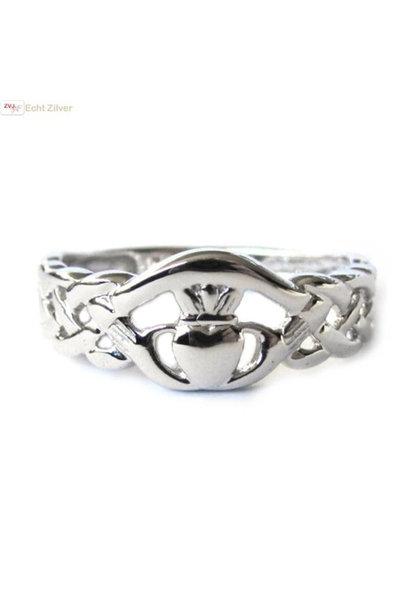Zilveren stoere keltische claddagh  ring