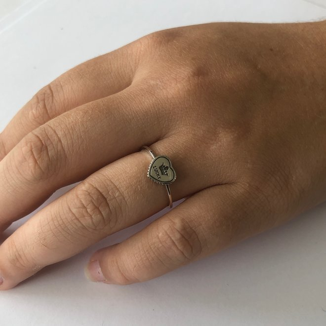 925 Zilveren lucky crown hart ring