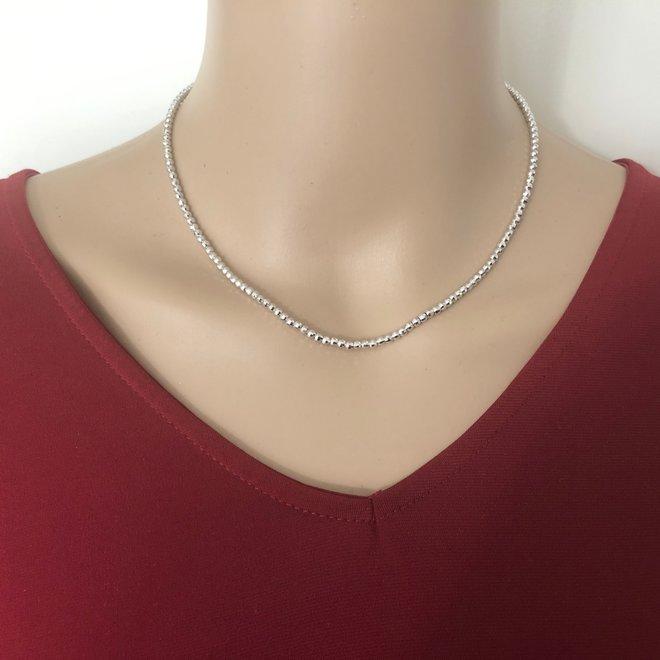 925 Zilveren diamond cut bolletjes ketting 40 cm