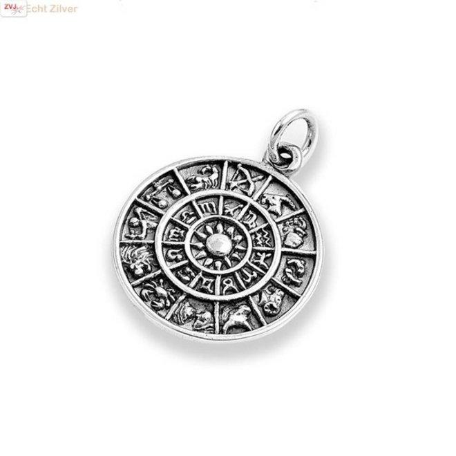 Zilveren zodiac kalender coin hanger