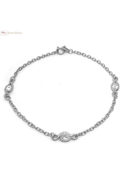 Zilveren diamond by the yard armbandje