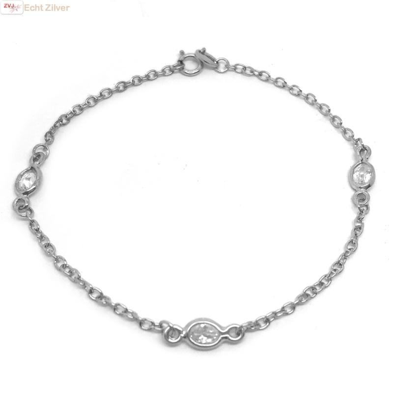 925 Zilveren diamond by the yard armbandje-1