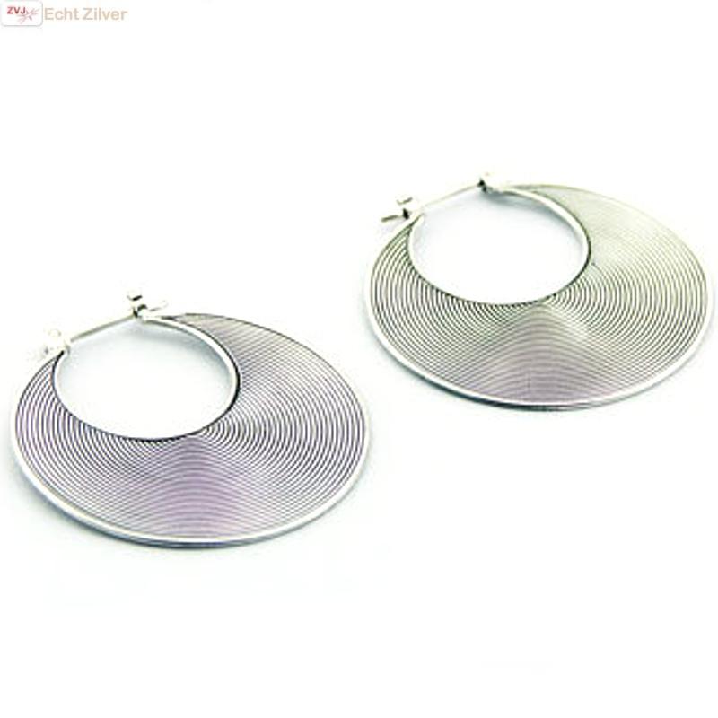 Zilveren Balinese oorringen 34 mm-2