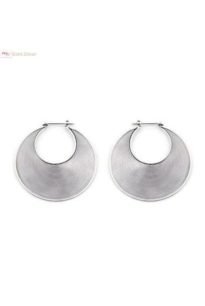 Zilveren Balinese oorringen 30 mm