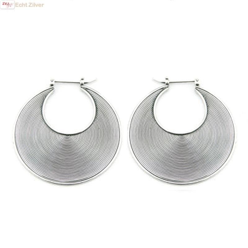 Zilveren Balinese oorringen 34 mm-1