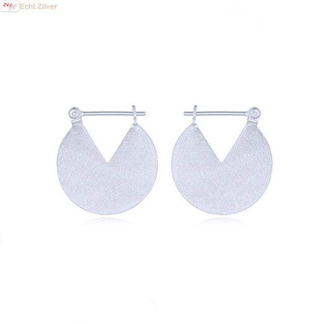 925 Mat zilveren geometrische disc oorringen