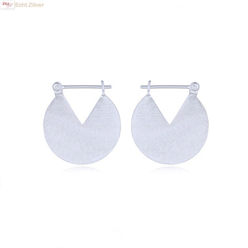 925 Mat zilveren geometrische disc oorringen-1