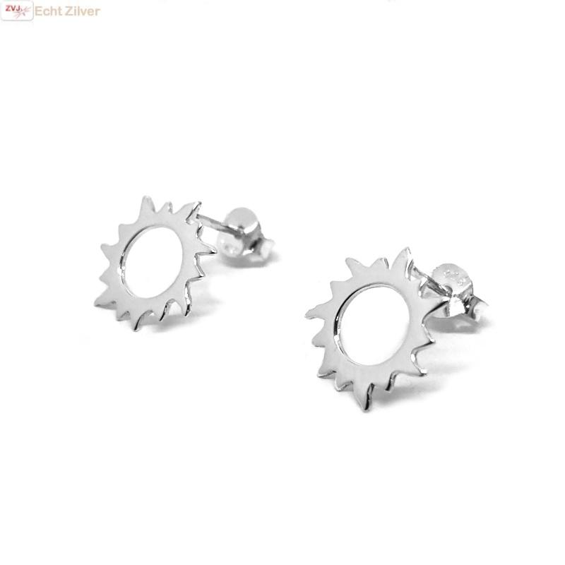 Zilveren zon oorstekers-1