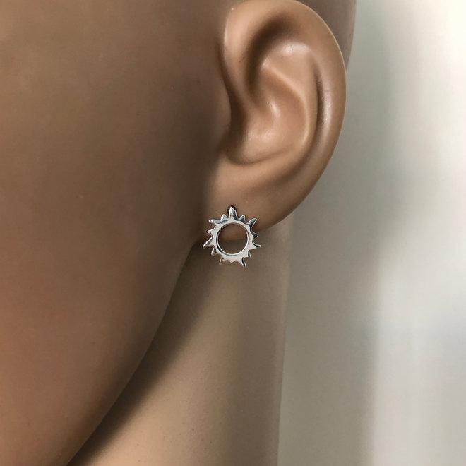 Zilveren zon oorstekers