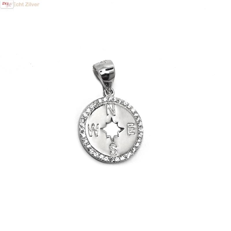 Zilveren windroos kompas zirkoon kettinghanger-1