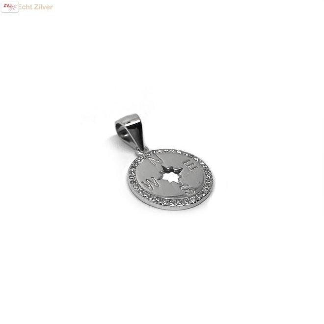 Zilveren windroos kompas zirkoon kettinghanger