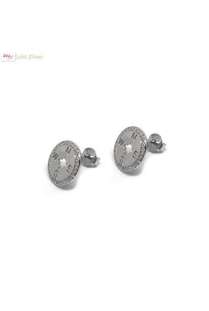 Zilveren windroos kompas zirkoon oorstekers