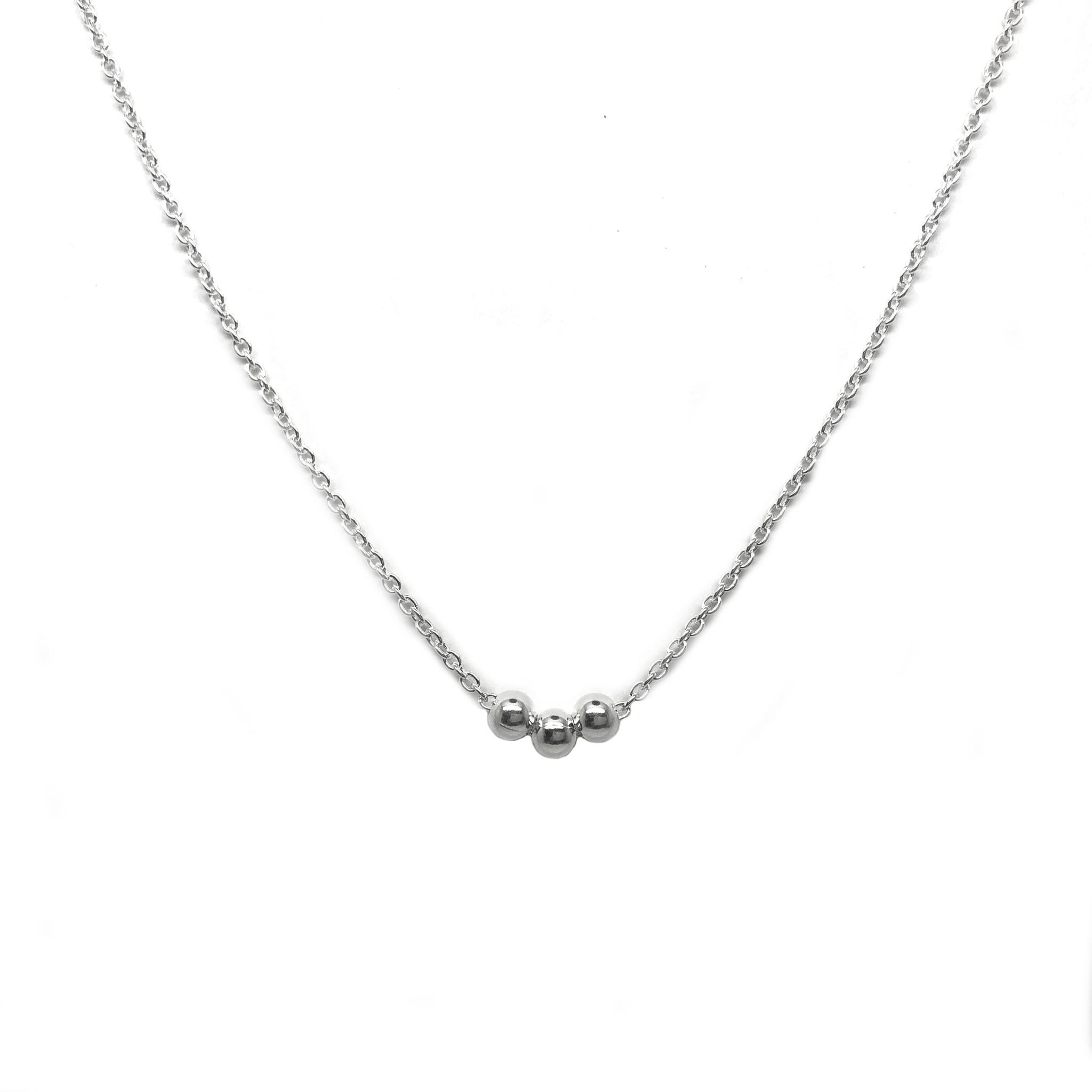 Zilveren 3 balletjes ketting-1