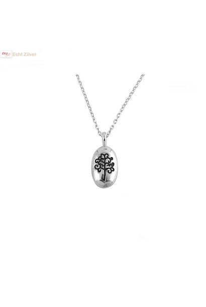 Zilveren levensboom ketting