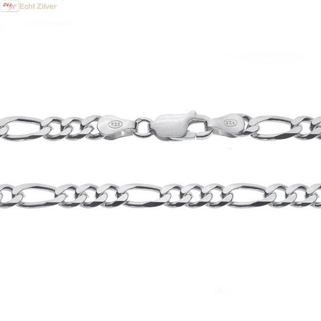 Zilveren figaro ketting 55 cm 5 mm breed