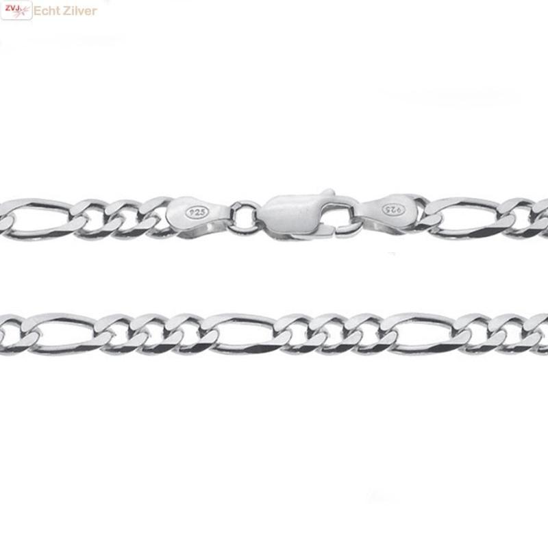 Zilveren figaro ketting 55 cm 5 mm breed-1