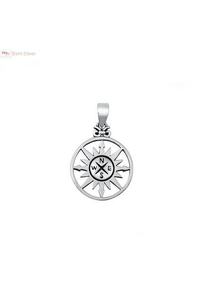 Zilveren zon kompas hanger