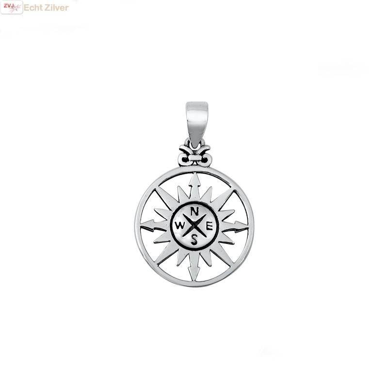 Zilveren zon kompas hanger-1