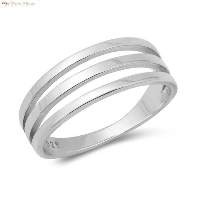 Zilveren 3 lijnen ring