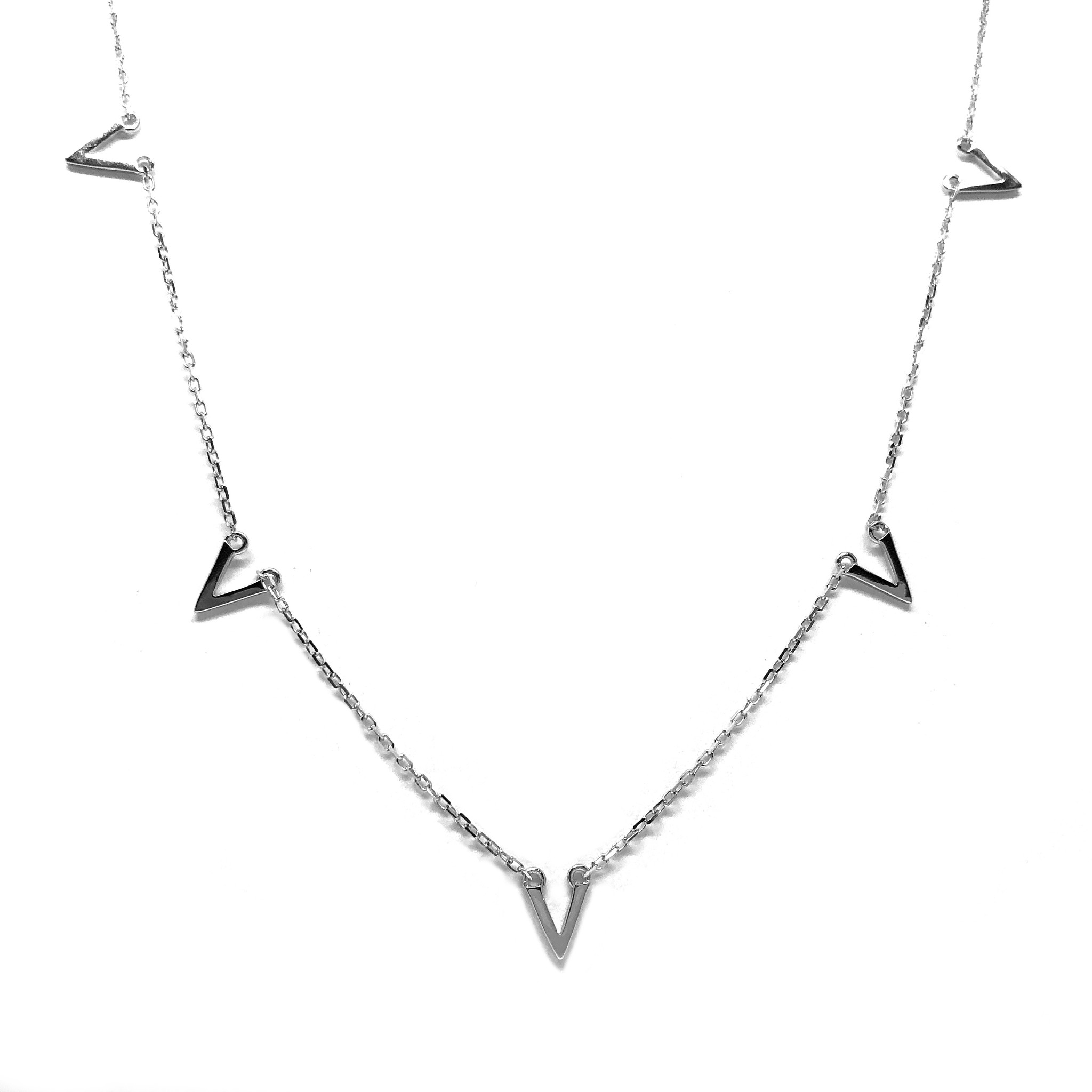 Zilveren V'tjes chevron ketting-1