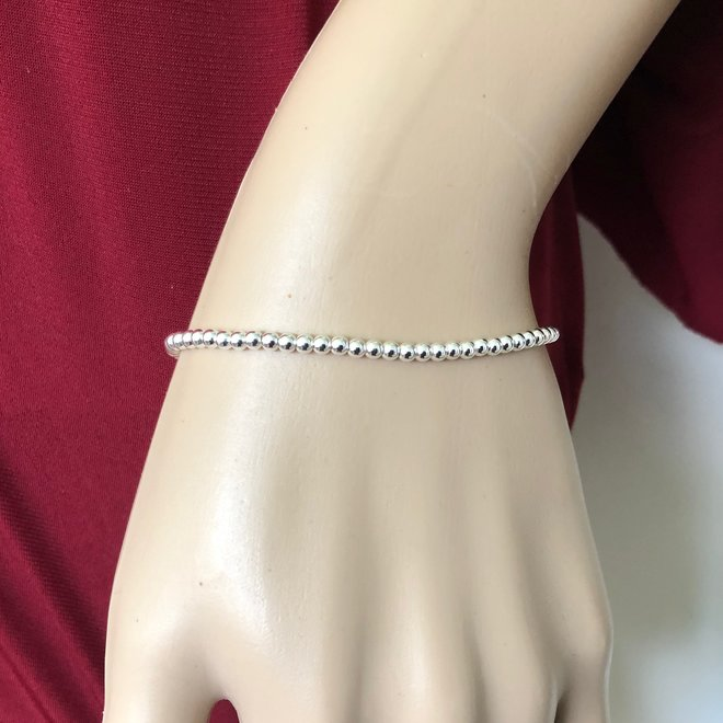 Zilveren 3 mm bolletjes armband