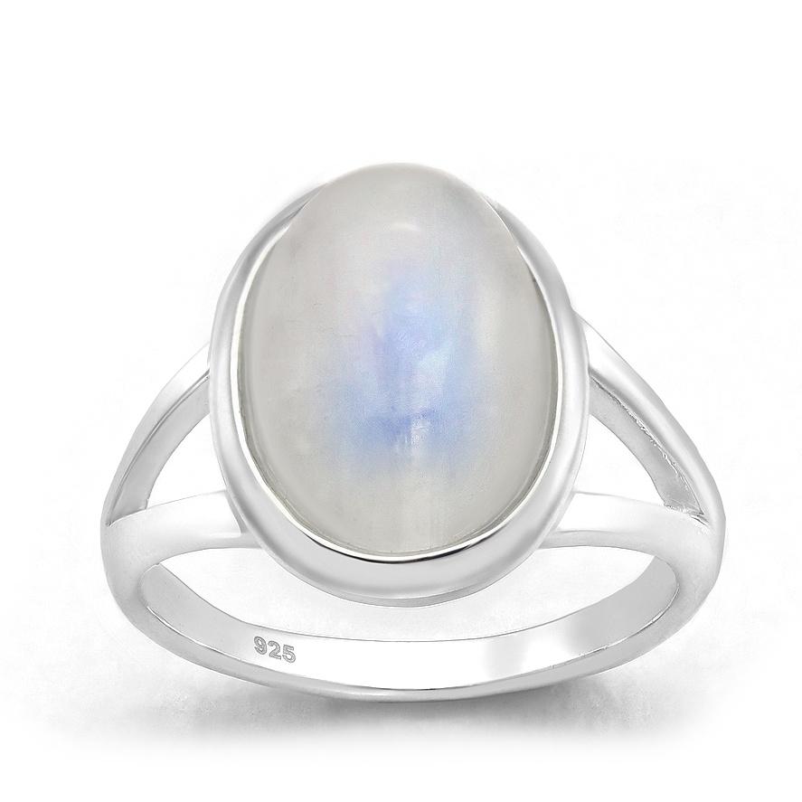 Zilveren ovale regenboog maansteen ring-1