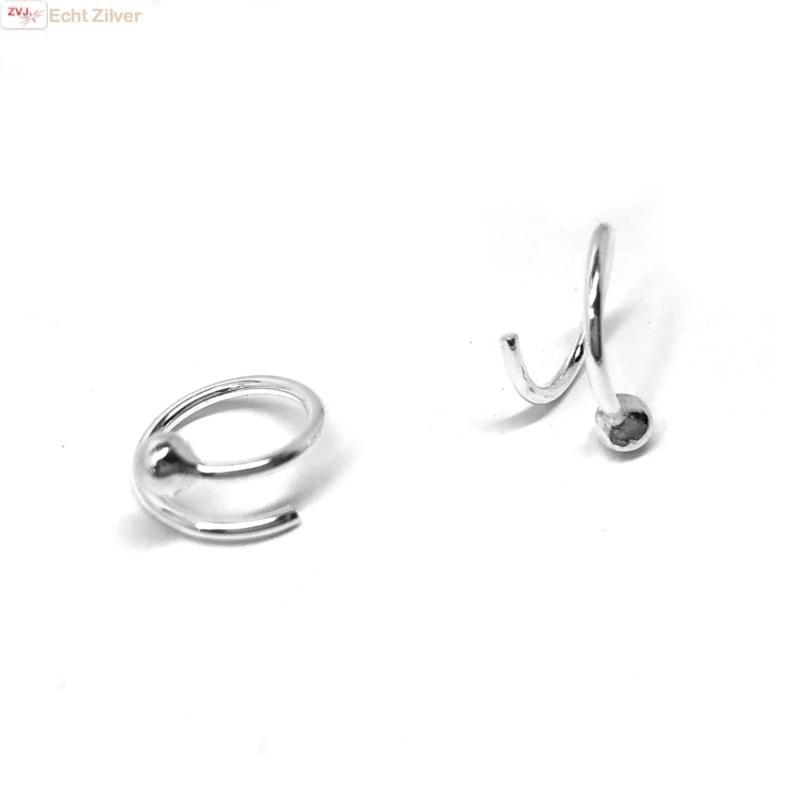Zilveren kleine open spiraal creolen met bal-1