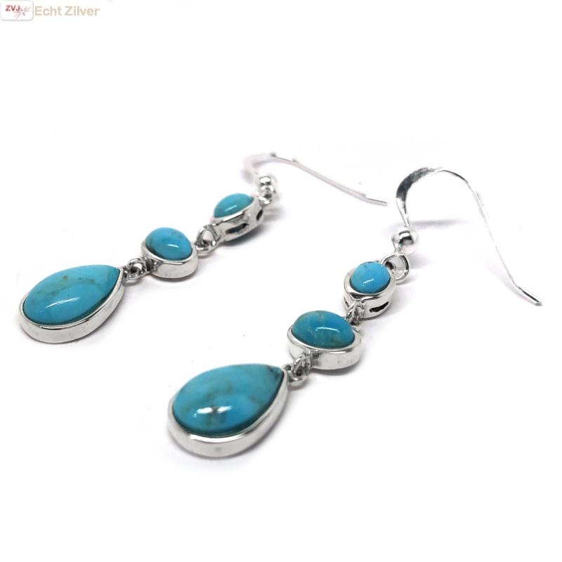 Zilveren oorhangers turkoois-3