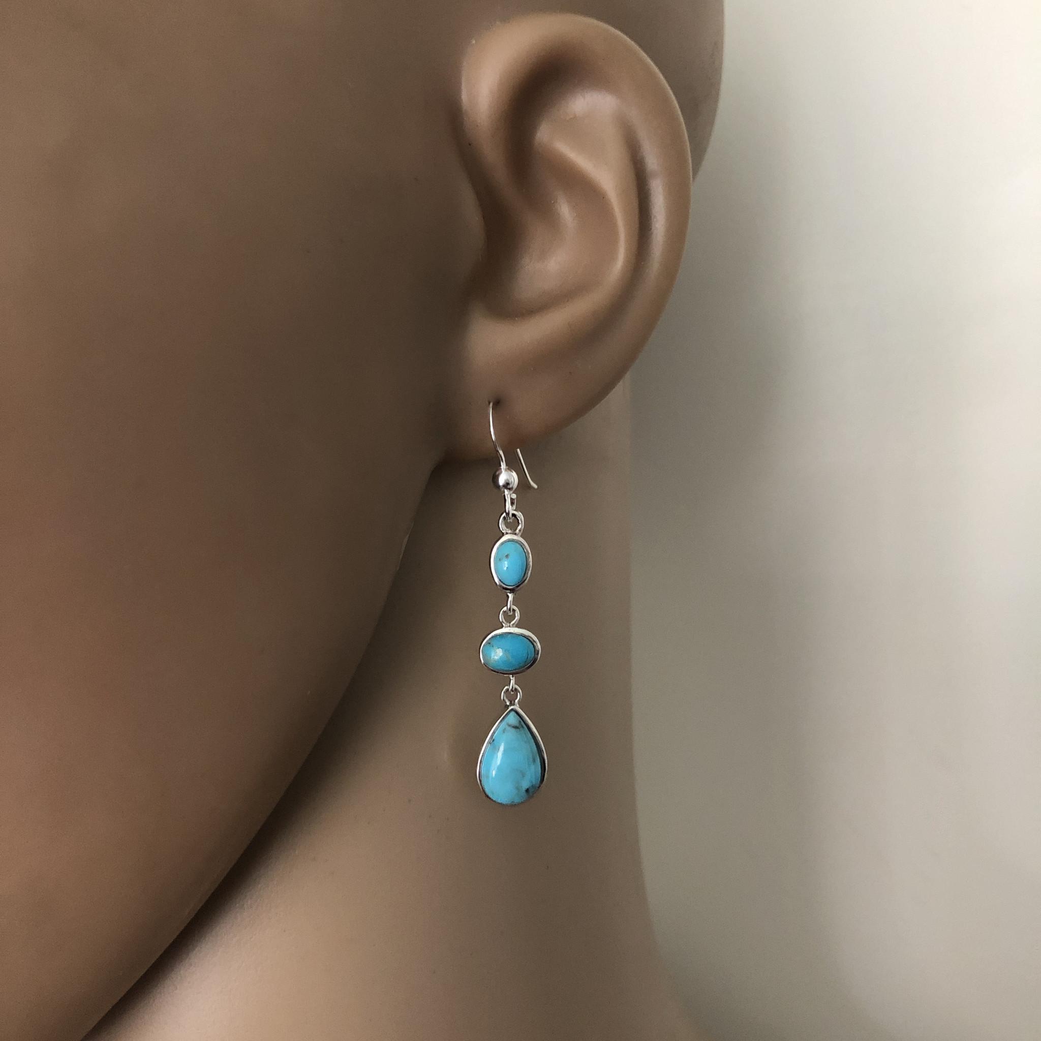 Zilveren oorhangers turkoois-2