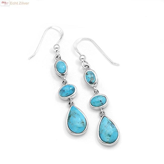 Zilveren oorhangers turkoois blauw