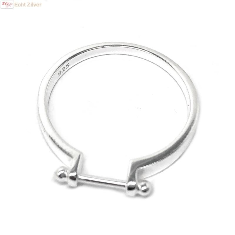 Zilveren ring met staafje-3